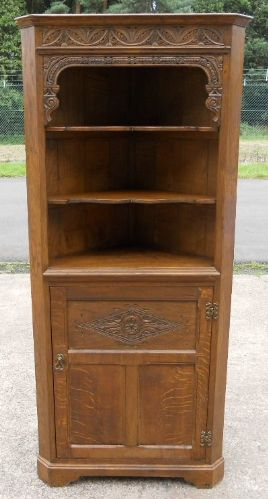 Antique Reproduction Oak Double Corner Cupboard - SOLD